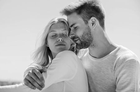 Couple in love. Man and woman sunny day outdoors. True love. Tenderness concept. Enjoy every moment. Peaceful romantic people. Enjoyment. Summer romance. Family love. Love story. Romantic relations