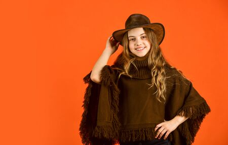 vintage concept. confident and ambitious. teen in hat. stylish looking girl. small girl wear autumn clothes. retro fashion model. beauty and fashion. looking trendy this fall season. copy space
