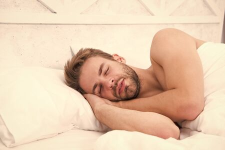 Sweet dreams. Health care concept. Circadian rhythm regulates sleep wake cycle. Man handsome unshaven guy in bed. Enough amount sleep every night. Tips sleep better. Bearded man relaxing on pillow