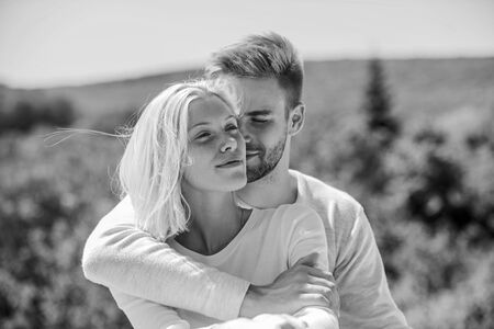 Honeymoon trip. young family. he make her happy. happy to be together. understanding and support. romantic relationship. couple in love. man and girl smiling. family values