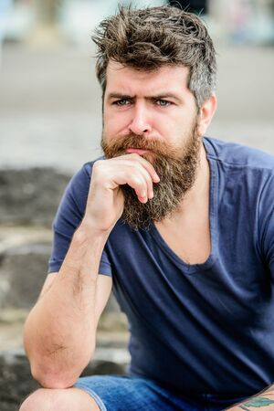 Making important choices. Man with beard and mustache thoughtful troubled. Hipster with beard thoughtful expression. Thinking and hesitating. Bearded man concentrated face. Thoughtful mood concept
