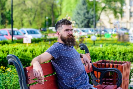 Man with beard and mustache on strict face sits on bench in park. Public recreation places concept. Bearded man with fresh haircut relaxing, urban background. Hipster enjoy sunny day in park.
