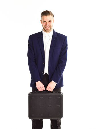 Man in suit or businessman with smiling face holds briefcase
