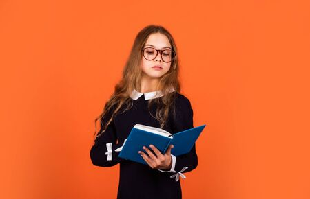 Learning foreign language. Education for kids. Skills and knowledge. Child care. School education concept. Private college. Nerd lifestyle. Cute kid studying. Basic education. Student with book