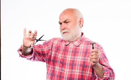 I will be ready in five minutes. shaving razor blade tool kit. mature bearded man isolated on white. unshaven old man has moustache and beard. scissors cut and brush hair. barbershop concept