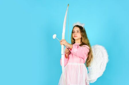 Endless love. Arrow of love. small angel girl with wings and halo. Cupid throws arrow with bow. Valentine day angel. Amour. God of love. February 14. valentine sale and discount. Cupid shoot with bow