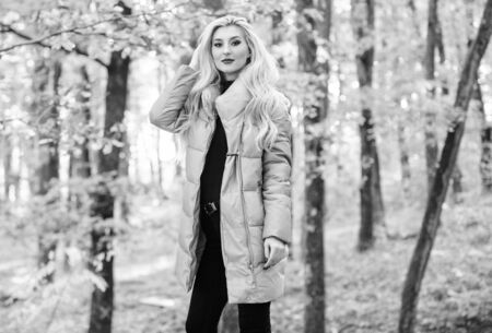 Best puffer coats to buy. How to rock puffer jacket like star. Puffer fashion concept. Outfit prove puffer coat can look stylish. Jackets everyone should have. Girl fashionable blonde walk in park