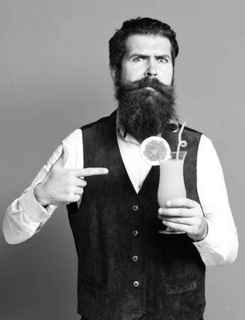 surprised handsome bearded man with long beard