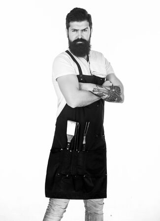 How choose meat for steak and barbecue. Barbecue menu. Picnic and barbecue. Bearded hipster wear apron for barbecue. Roasting and grilling food. Tips cooking meat. Tools for roasting meat outdoors 写真素材