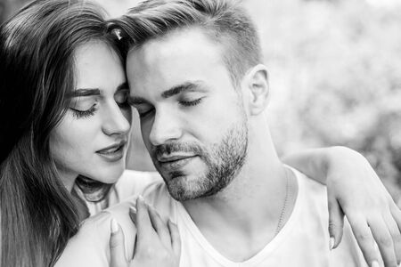 One and only. couple relax outdoor. Tender feeling. girl with guy in park. Beauty and fashion. happy valentines day. summer vibes. family weekend. romantic date. couple in love. Skin and hair care Reklamní fotografie