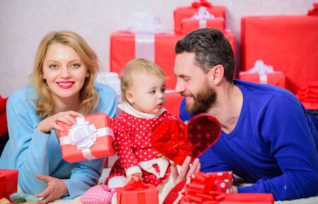 Life can not be better. Family celebrate anniversary. Valentines day concept. Together on valentines day. Lovely family celebrating valentines day. Happy parents. Couple in love and baby daughter
