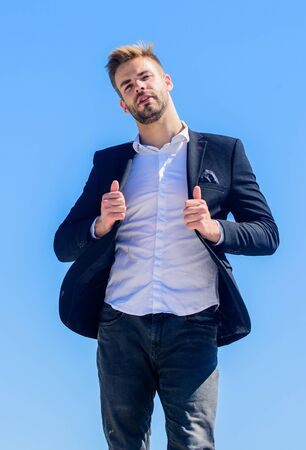 Good deal. charismatic director. Bearded guy business style. macho man. male grooming. success concept. formal male fashion. modern lifestyle. confident businessman. Handsome man fashion model