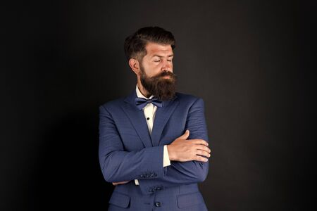 Well groomed man beard in suit. Male fashion and aesthetic. Classic style aesthetic. Businessman formal outfit. Masculine aesthetic. Barber hairdresser. Make male grooming simpler and more enjoyable
