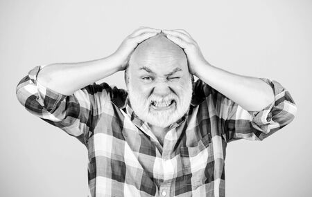 Age issues. Health care concept. Male pattern baldness genetic condition caused by variety factors. Early signs balding. Elderly people. Bearded grandfather grey hair. Hair loss. Man losing hair Stock fotó