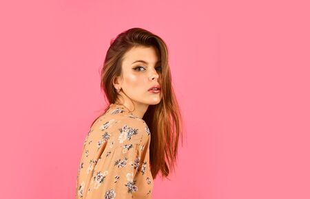 Fashion. Girl perfect beautiful makeup. Beauty salon. Adorable fashionable girl. Natural beauty. Hairstyle and makeup. Woman confident face with makeup on pink background. Elegant makeup concept
