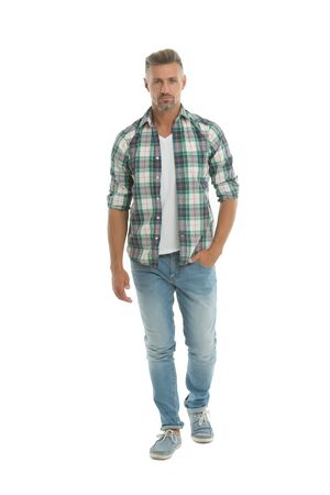 Confident man isolated on white. Confident look of fashion man. Casual fashion trend. Fashion and style. Man wardrobe for everyday life. Live confident lifestyle