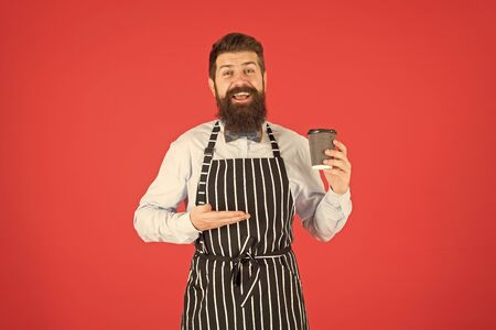 Man bearded hipster professional barista enjoy aroma coffee. Cafe and coffee shop concept. Caffeine drink. Loving his job. Third wave coffee aspires to highest form of culinary appreciation of coffee