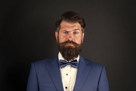 Classic style aesthetic. Masculine aesthetic. Barber hairdresser. Make male grooming simpler and more enjoyable. Well groomed man beard in suit. Male fashion and aesthetic. Businessman formal outfit