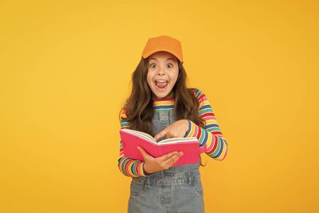Informal education concept. Join school literature club. Education is fun. Education outside of structured curriculum. Child happy smiling girl with notepad book enjoy studying non formal atmosphere