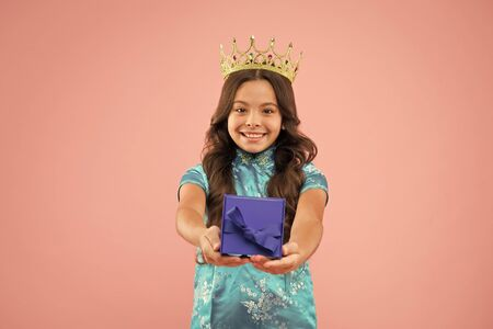 International beauty contest. Kid wear golden crown symbol of glory. Beauty pageant. Focus on beauty. Little princess. Girl wear crown. Princess manners. Award concept. Winner of beauty competition