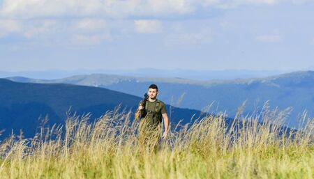 State border guard service. Man with weapon military clothes in field nature background. Army forces. Protecting borders of motherland. Stop illegal immigrants. Guard the borders. Soldier with rifle