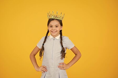 Join luxury class. Succeed in education. Celebrating success. Happy schoolgirl wear golden crown symbol of success. Success and respect. Little princess. Motivational award for school children