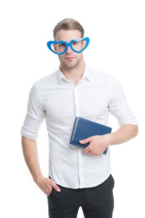 Walking encyclopedia. Funny man hold encyclopedia isolated on white. Reading encyclopedia book in fancy glasses. Encyclopedia facts and information. Education and knowledge. Reference book. Library Standard-Bild