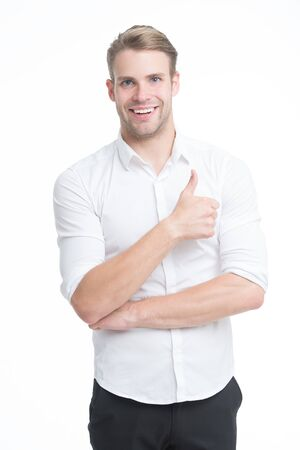 Best promotion. Happy guy give thumbs up isolated on white. Promoting product or service. Promoting and advertising. Promoting and marketing. Promote and make sales. Promoting business Banque d'images