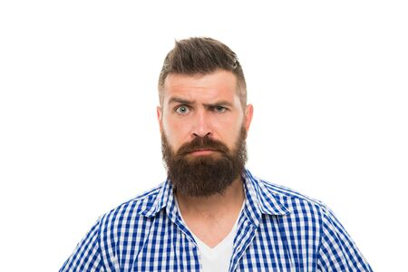 Wait what. Man serious face raising eyebrow not confident. Have some doubts. Hipster bearded face not sure in something. Doubtful bearded man on white background close up. Doubtful expression Фото со стока