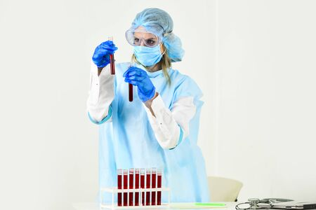 scientific discovery. healthcare and medicine. woman with test tubes in hospital lab. make blood test for virus. vaccine against sars. infection epidemic from china. coronavirus pandemic outbreak