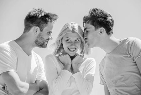 Friend zone concept. Happy together. Cheerful friends. People outdoors. Happy woman and two men. Member friendship wishes to enter into romantic relationship. Friendship love. Friendship relations Archivio Fotografico