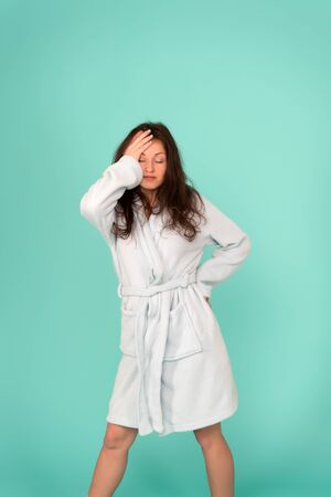 Im not a morning person. Sleepy girl blue background. Sexy woman wake up in morning. Awakening in morning. Gown and leisure wear. Beauty and look. Good night means good morning