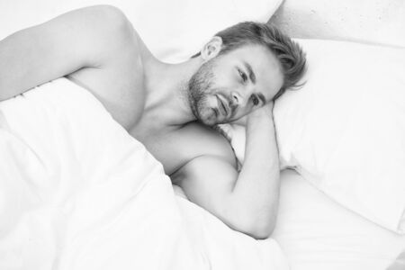 Time for relax. Relax techniques. Perfect rest. Man handsome guy relax in bed. Get enough amount of sleep. Tips sleeping better. Unshaven man handsome face relaxing. Pleasant relaxation concept