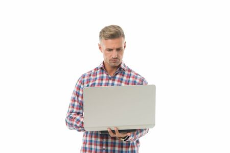 Make new connections with laptop. Handsome man use laptop isolated on white. Professional laptop computer repairman. IT tech worker. Notebook and pc. Laptop technology. Start freelancing