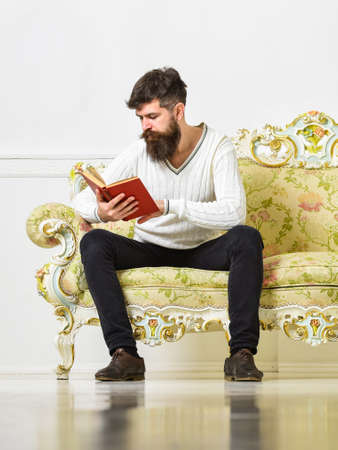 Self improvement concept. Guy reading book with attention. Man with beard and mustache sits on baroque style sofa, holds book, white wall background. Macho on concentrated face reading book.