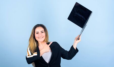 Business is over. blogging and digital marketing. happy student study online. agile business. girl shopping on cyber monday. woman work using computer. new technology in modern life Stockfoto
