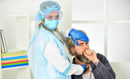 infection control and prevention measures. keep your distance. remote-based job. online shopping. man in respirator protective mask call doctor. work on a remote site. distance learning