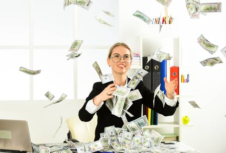 Strategies to Boost Your Income. Woman enjoy money falling from above. Passive income streams require an upfront investment. Successful business. Money for happiness. Cash flow. Passive income