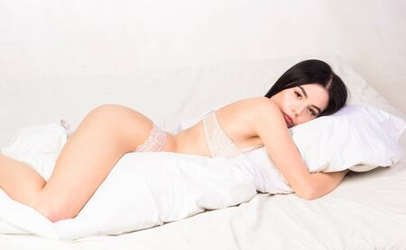 good morning. Relax and spa massage. woman with sexy body shape. girl sleep in bed. sweet night dreams. female erotic lingerie. time to relax. weekend relax at home. sensual girl relax in bed