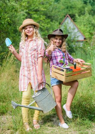Gardening basics. Summer at countryside. Sisters helping at backyard. Girls with gardening tools. Gardening teaching life cycle process. Child friendly garden tools ensure safety of child gardener Reklamní fotografie