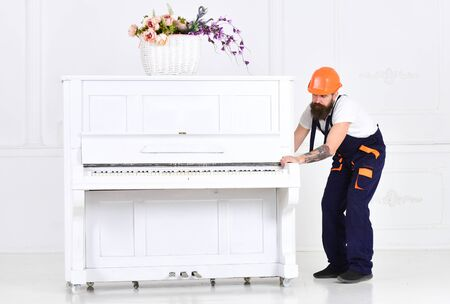 Busy worker with beard and mustache in orange protective helmet and blue overall moving grand piano isolated on white background. White piano with flower vase on top in empty room.