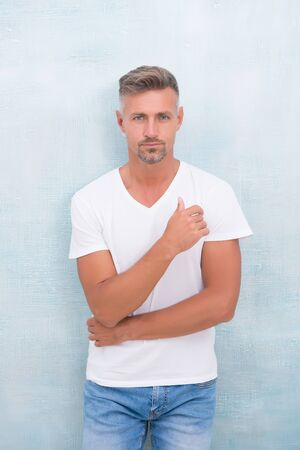 Simple and comfy. From luxurious to affordable. Summer fashion. Mature man casual outfit. Fashion model. Handsome hipster wear white shirt. Summer collection. Menswear concept. Fashion clothes Foto de archivo