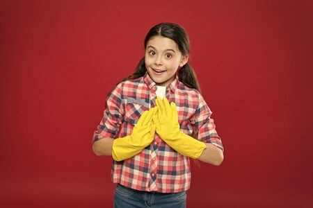 Cleaning service. Little cleaning lady red background. Small child wear rubber gloves. Domestic cleaning. Housekeeping routine. Household work. Do housework. All for cleaning. No more dust