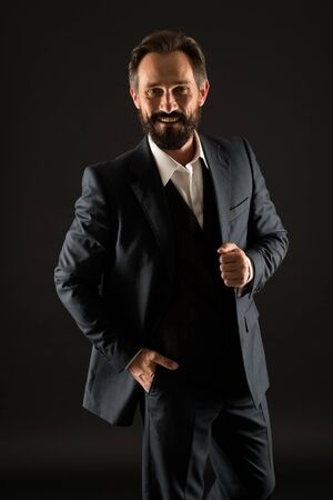 success in his veins. bearded man in formal wear. senior and brutal boss. male office fashion. mature businessman in suit. successful business concept. confident and happy ceo