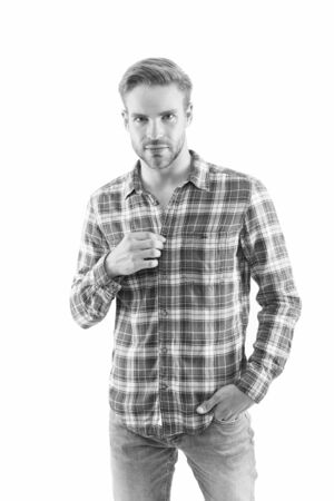 Be casual be yourself. Caucasian guy isolated on white. Handsome man in casual wear. Casual fashion trends. Fashion and style. Feeling comfortable in casual wear Reklamní fotografie