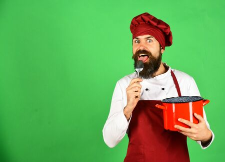 Cooking process concept. Man with beard holds kitchenware