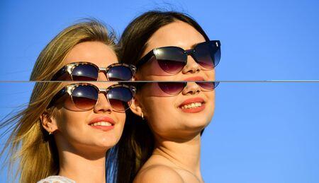 Summer fashion. Find woman inner strength. Harmony and balance. Femininity concept. Beautiful women on sunny day blue sky background. Sisterhood and female community. Female friendship. Female power