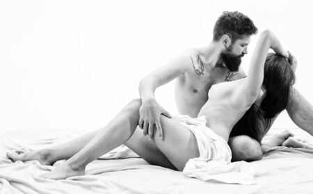 Love and passion concept. Couple in love sexual interaction. Sensual foreplay and intimacy. Lovers naked hug or cuddling. Couple in love enjoy moment. Couple make love sex. Hipster seduce sexy girl
