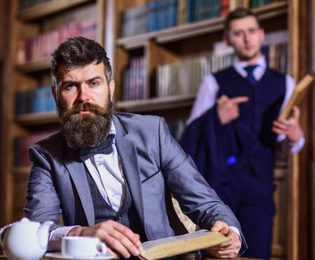 Retro leisure concept. Man with beard and calm face
