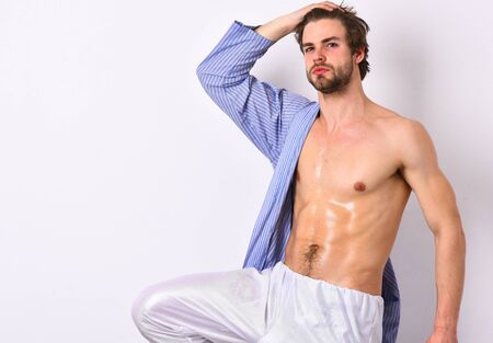 Bearded man with strong healthy body. Fit body, healthy lifestyle concept.